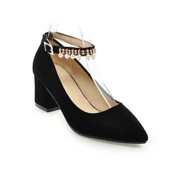 Rhinestone Pearls Ankle Strap Suede High Heel Pumps Shoes Woman 9972