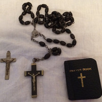 What would Sister Jude think of this 1930's Vintage Ebony Silver Wooden Rosary Miniature Prayer Book with a TWIST Published 1935