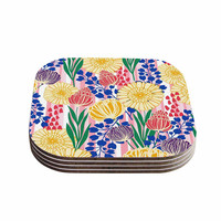 "Amy Reber ""Pretty Bouquet"" Yellow Floral Coasters (Set of 4)"
