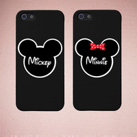 Couples iPhone Case Set - Matching iphone 4 4S 5 5C Galaxy S3 S4 Cases in Black with Mickey & Minnie - Romantic Gift