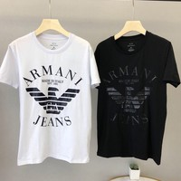Armani 2019 new personality printing casual fashion men's round neck short-sleeved T-shirt