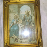 """Antique French Print by Bouasse Lebel Paris """"The Holy Family of Nazareth"""" Gilt Frame"""