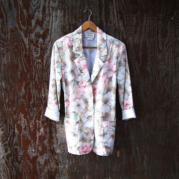 Spring floral blazer jacket hipster tropical print pastel pink green grunge floral revival slouchy 1980's Made In USA