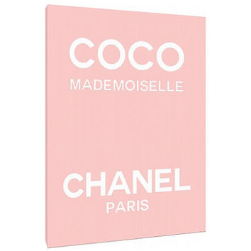 Coco Mademoiselle perfume label Canvas - Typography - Perfume Bottle - Wall Art - Print Poster - Modern Decor - Motivation - Chanel logo