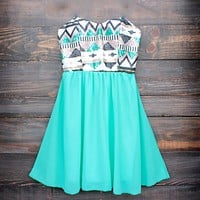aztec sequin strapless sweetheart dress | turquoise