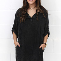 Acid Washed Pocket Shirt Dress {Black}