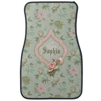 Personalized Girly Chic Green and Pink Floral Car Mat