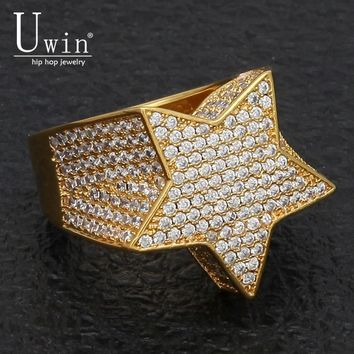 UWIN Five Point Star CZ Rings Puffed Marine Micro Paved Full Bling Iced Out Cubic Zircon Luxury Fashion Hiphop Jewelry Gift