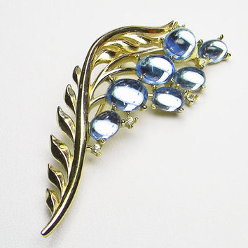 Trifari Alfred Philippe Brooch Blue Mirrored Cabochons Floral Leaf Design