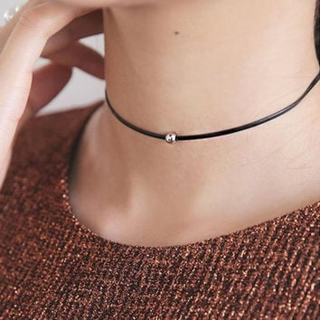 Choker Black Leather Rope Beaded Necklaces Perfect BFF XMAS Gift