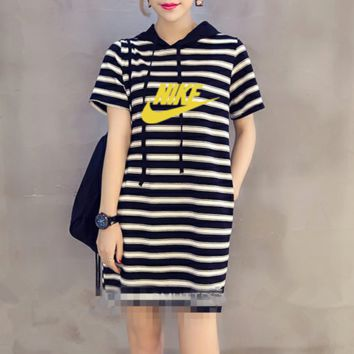 """Nike"" Women Sport Casual Fashion Multicolor Stripe Short Sleeve Hooded Dress"