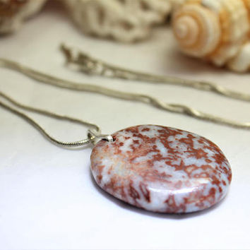 Coral Red Larimar Oval Scenic Sterling Silver Pendant Necklace 925 snake chain Marbled Copper Blue Pectolite Bohemian Rough ooak handmade