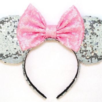 Silver Sequin Ears and Baby Pink Bow