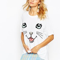 Wildfox Oversized T-Shirt With Cat Face Print