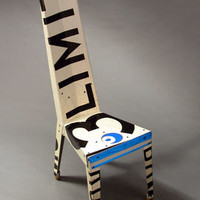 Recycled Black and White metal chair from retired transit signs by Boris Bally - Eco-Artware.com