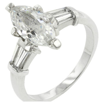 Laurain Marquise Solitaire with Baguette Engagement Ring | 2.8ct | Cubic Zirconia
