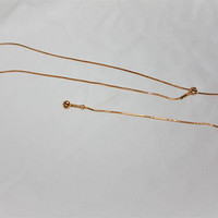 Vintage Gold Tone Slide Lariat Y Necklace 1970s jewelry