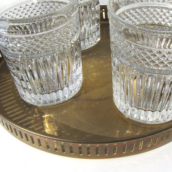 Vintage Lead Crystal Whiskey Glasses Old Fashioned  Bar