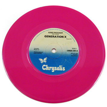 Vintage 70s Generation X King Rocker/Gimme Some Truth 45 RPM 7-inch Single Pink Record