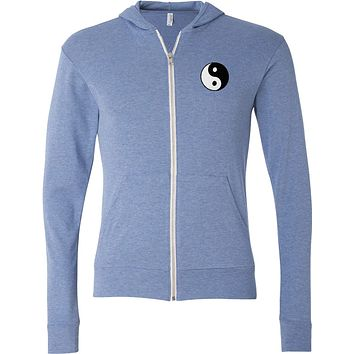 Lightweight Yoga Full-Zip Hoodie Yin Yang Patch Pocket Print