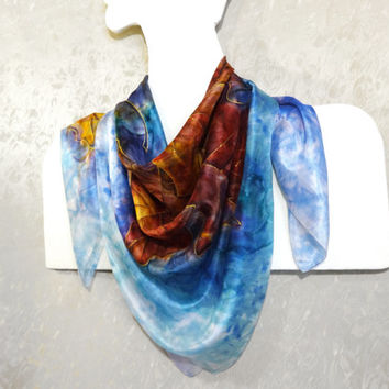 Colorful hand-painted silk scarf Square large handpainted scarf Original design Watercolor silk head neck shawl Autumn leaves 96x96cm 38x38""