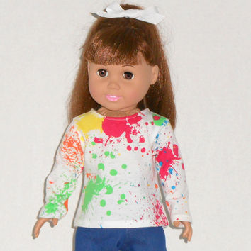 American Girl Doll Clothes Knit Shirt with Tie Dye Print & Long Sleeves
