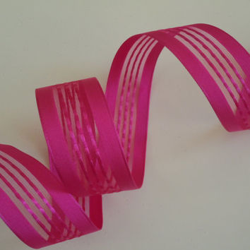 "wired ribbon Hot Pink Sheer Valentine Scrapbooking Easter Wedding Shower Party Decoration make gift wrap ribbon satin ribbon 1.5"" 5yd"