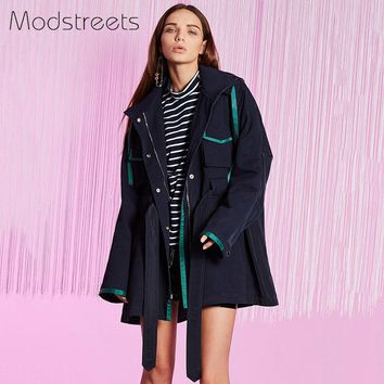 Winter High Fashion Brand Woman Classic Long Trench Coat Patchwork Hooded Overcoat Zipper Windbreaker Outerwear