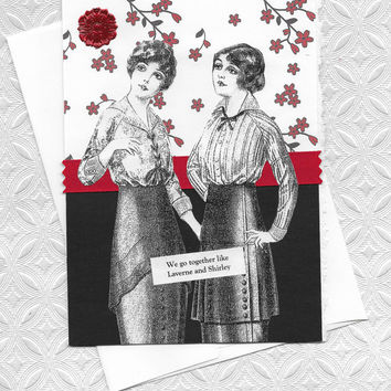 Red and Black Note Card for Best Friends - Like Laverne and Shirley
