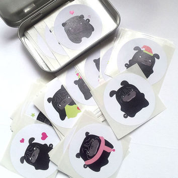100 Random Black Pug Stickers STKX006 - T-Tea Black Pug Puppy Stickers 2 inch round Mix