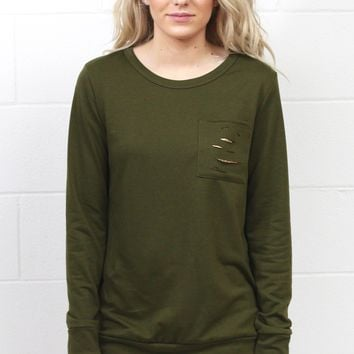 Sparkle in Your Distressed Pocket Sweatshirt {Olive}