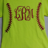 Monogrammed Softball Short Sleeve YOUTH T Shirt with regular vinyl laces and monogram
