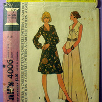 "Dress McCall's 4006 Misses' Size 14 Bust 36"" Vintage 1970's Sewing Pattern"