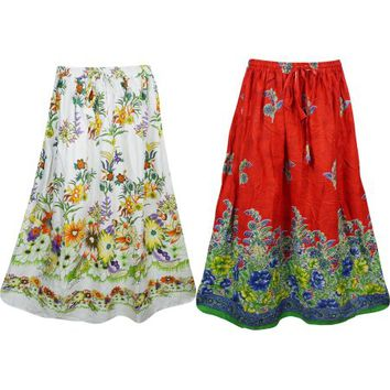 Mogul Womens Long Skirts Floral Print Hippie Gypsy Red White Flare Maxi Skirts Wholesale Lot Of 2 - Walmart.com