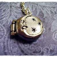 $15.00 Tiny Crescent Moon and Stars Locket 3D Charm by EvelynMaeCreations