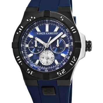 Vince Camuto Black and Blue Round Watch with Silicone Strap