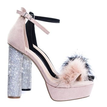 Julia03A by Wild Diva Rhinestone Encrusted Rounded Cylinder Heel w Faux Feather Fur Strap