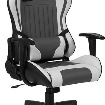 Cumberland Comfort Series High Back Gray and White Reclining Racing/Gaming Office Chair with Adjustable Lumbar Support [CH-CX1063H-GG]