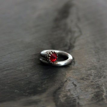 Draculala Nail Ring w/ blood red garnet // steel nail, sterling silver setting, and garnet // Slag + Nacre from Mod Evil