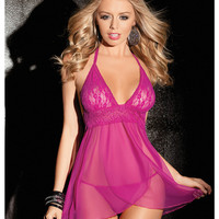 Stretch Mesh Halter Tie Babydoll W-overlay Front Panels & G-string Fuchsia Md