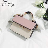It's YiiYa Popular 3 Colors Women PU HandBag Fashion Panelled Girls Handbags Casual Messenger Bags With Cell Phone Pocket SS573