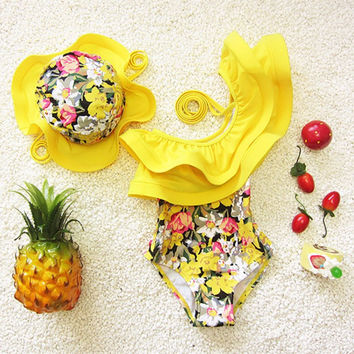 Kids Swimsuits Girls One Piece Swimwear 2017 Ruffle Toddler Girl Bathing Suits Kids Swimwear Swimsuits for Children Hat