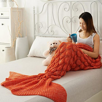 Mermaid Party to Be Adored Blanket Scales shape Christmas Gift Orange