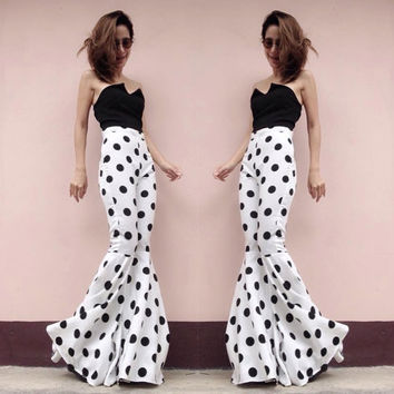 Women's white black dots high waist flared bell bottom pant - vintage 70s fashion