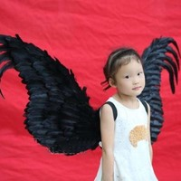 Costume Children Gift Black Angel Feather Wings Kid Tween Wings