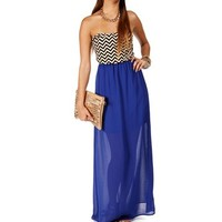 Royal Chevron Maxi Dress