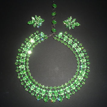 Stunning Peridot Navette Demi Parure Necklace and Earrings Vintage 1940s Green Rhinestone Collar Necklace