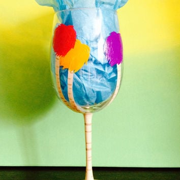 Dr. Seuss's The Lorax inspired Truffula tree hand painted wine glass