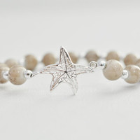 Sterling Silver Brown Smokey Glass Beaded Starfish , Stretchy Bracelet - Beach Wedding Bridal Bridesmaid Gift