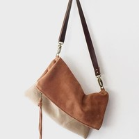 Convertible Suede Foldover Crossbody Bag
